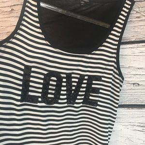 "Express ""LOVE"" Black & White Stripe Tank. Small."